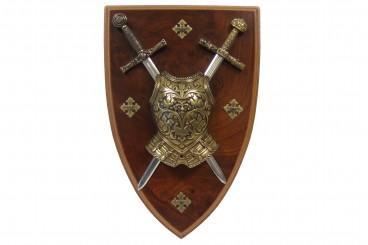 Panoply mit Kürass und 2 Schwertern