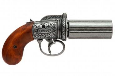 6 Fässer Pepper-Box Revolver, England 1840