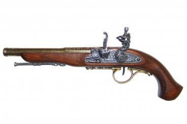 Flintlock pistol (left-handed), 18th. C.