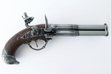 Revolving 3 barrel flintlock pistol, France 18th. C.