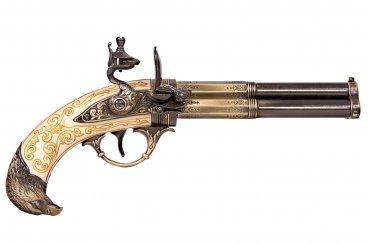 Revolving 3 barrel flintlock pistol, France 18th. C.