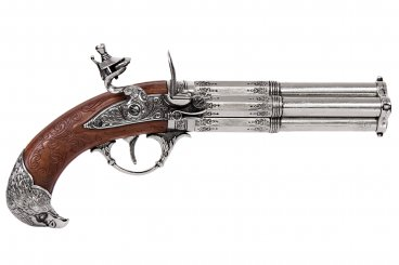 Revolving 4 barrel flintlock pistol, France 18th. C.