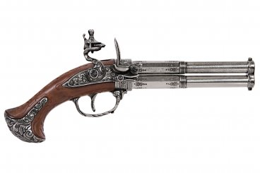 Revolving 2 barrel flintlock pistol, France 18th. C.