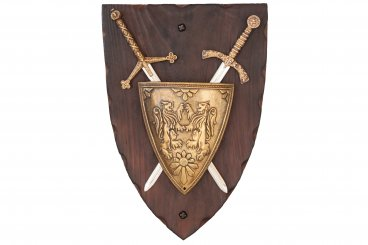 Panoply with coat of arms and 2 swords