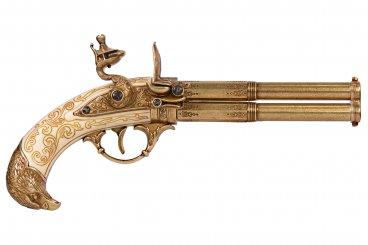 Pistola de 2 cañones giratorios, Francia S. XVIII