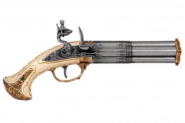 Pistolet 4 canons tournants, France S. XVIII